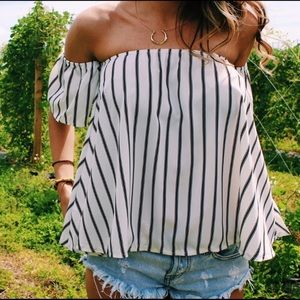 Black and white striped off the shoulder top.